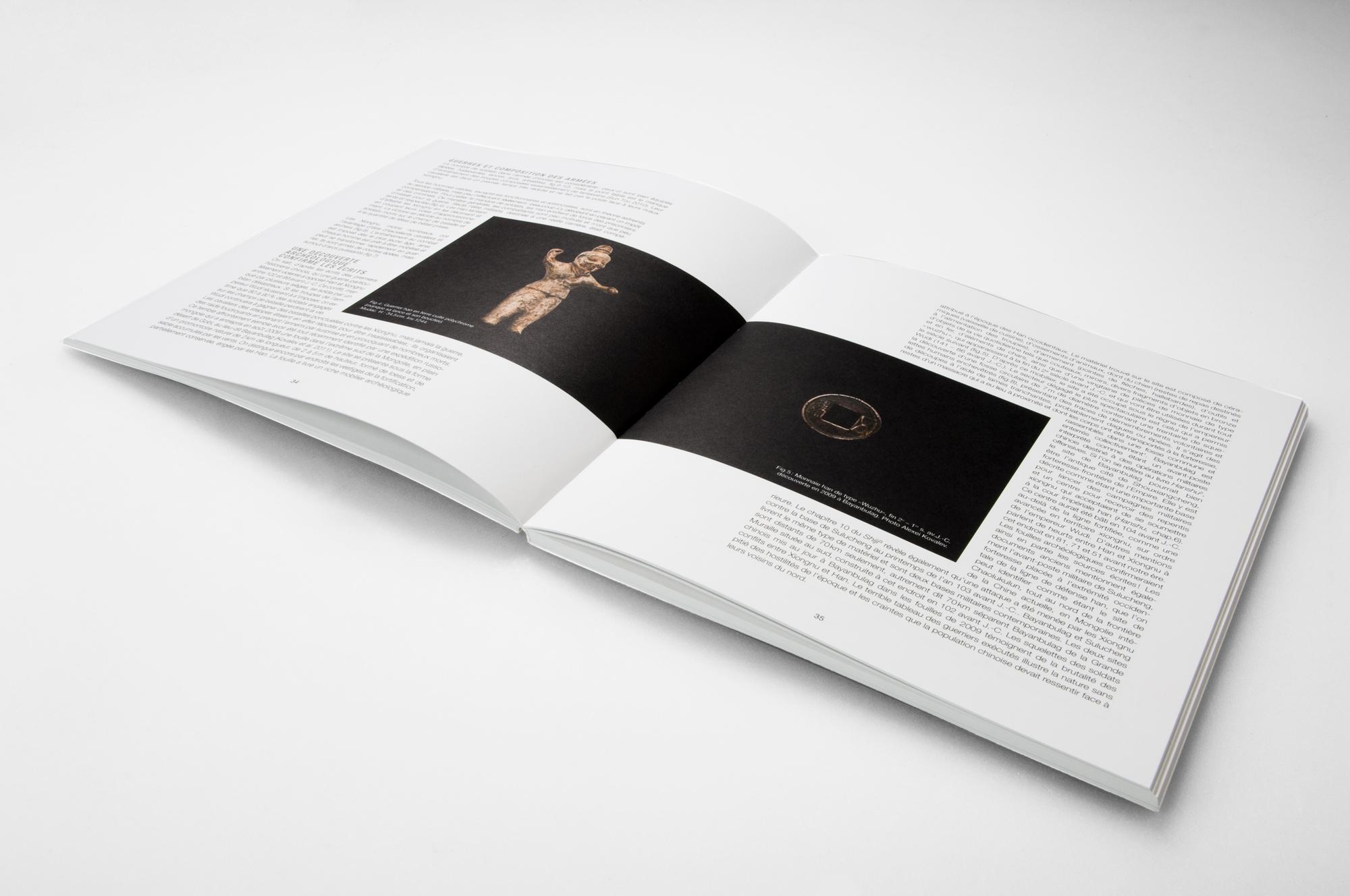 page de texte avec une image transversale dans le catalogue du laténium